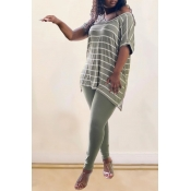 Lovely Casual V Neck Striped Green Plus Size Two-p