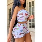 lovely Stylish Butterfly Print White Two Piece Shorts Set