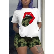 lovely Street Camo Print Plus Size Two-piece Short