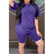 lovely Casual Basic Purple Two Piece Shorts Set