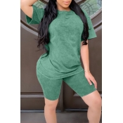 lovely Casual Basic Green Two Piece Shorts Set