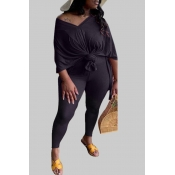 lovely Leisure V Neck Basic Black Plus Size Two-pi