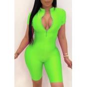 lovely Sportswear Zipper Design Green One-piece Romper
