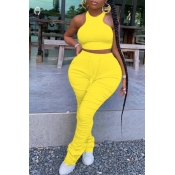lovely Stylish Fold Design Yellow Plus Size Two-piece Pants Set