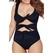 lovely Cut-Out Knot Design Black Plus Size One-pie