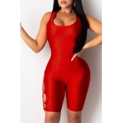 lovely Sexy Bandage Design Red One-piece Romper