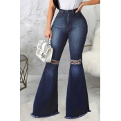 lovely Street Hollow-out Flared Blue Jeans