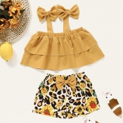 lovely Sweet Print Yellow Girl Two-piece Shorts Se