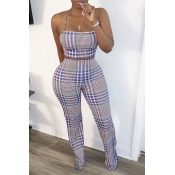 lovely Sexy Spaghetti Strap Grid Print Blue Two Piece Shorts Set