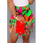lovely Stylish Tassel Design Multicolor Denim Shorts