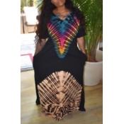 Lovely Ethnic V Neck Print Black Maxi Dress