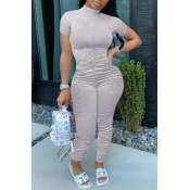 lovely Trendy Fold Design Grey One-piece Jumpsuit