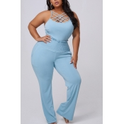 lovely Trendy Patchwork Blue Plus Size One-piece J