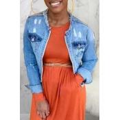 lovely Casual Pocket Patched Blue Denim Jacket