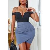 lovely Sexy Patchwork Blue Mini Dress
