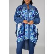 lovely Ethnic Print Patchwork Blue Mid Calf Dress