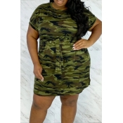 lovely Casual Camo Print Army Green Mini Plus Size