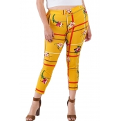 lovely Casual Plants Print Yellow Plus Size Pants