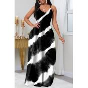 lovely Trendy Tie-dye Black Maxi Plus Size Dress