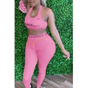 lovely Sportswear Letter Pink Plus Size Two-piece