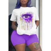 lovely Leisure O Neck Eye Print Purple Plus Size T