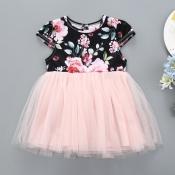 lovely Sweet Print Patchwork Black Girl Mini Dress
