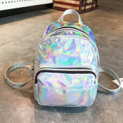 lovely Stylish Zipper Design Silver Backpack