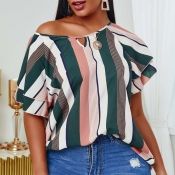 lovely Casual Striped Print Khaki Blouse