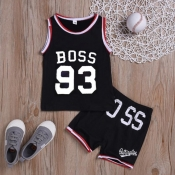 Lovely Sportswear Letter Black Boy Two-piece Short