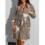 lovely Casual Print Grey Knee Length Dress