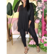 lovely Casual V Neck Side Slit Black Two Piece Pants Set
