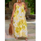 lovely Bohemian Print Yellow Ankle Length Dress
