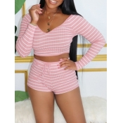 lovely Street V Neck Striped Lace-up Pink Two Piec