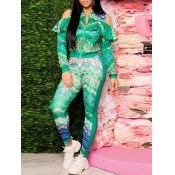 lovely Trendy Print Hollow-out Green Two Piece Pan