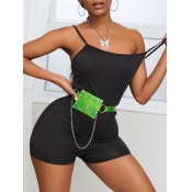 lovely Casual Skinny Black One-piece Romper