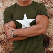 lovely Casual O Neck Pentagram Print Army Green T-