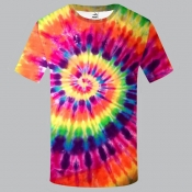 lovely Stylish O Neck Tie-dye Multicolor T-shirt