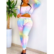lovely Leisure O Neck Tie Dye Multicolor Two Piece