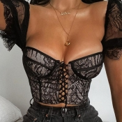 lovely Sexy Bandage Design See-through Black Blous