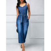 lovely Casual Lace-up Deep Blue Denim One-piece Ju