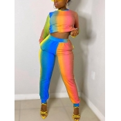 lovely Casual Rainbow Tie Dye Orange Two Piece Pants Set