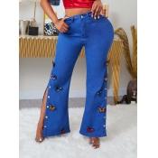 lovely Trendy Butterfly Side Slit Deep Blue Jeans