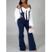 lovely Stylish Zipper Design Deep Blue Denim One-p