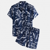 lovely Leisure Turndown Collar Print Blue Two-piec