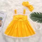 lovely Sweet Lace Hem Bow-Tie Yellow Girl Mini Dre