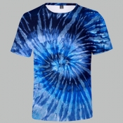 Lovely Trendy O Neck Tie-dye Blue T-shirt