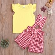 lovely Sweet Grid Print Yellow Girl Two-piece Shor