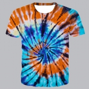 lovely Street O Neck Tie-dye Skyblue T-shirt