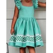 lovely Sweet Print Patchwork Green Girl Knee Lengt