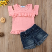 lovely Casual Flounce Design Hollow-out Pink Girl